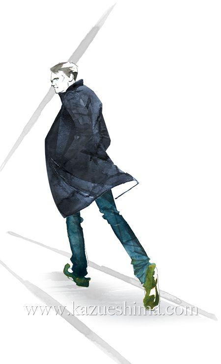 Men's Fashion illustration by Kazue Shima. Men's navy coat / Autumn-Winter. (Material: water color, pencil, photoshop) #mensfashion #fashionillustration #menswear #mensstyle #illustration