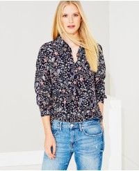 Liberty Silk Peter Pan Collar Shirt in Purple Floral