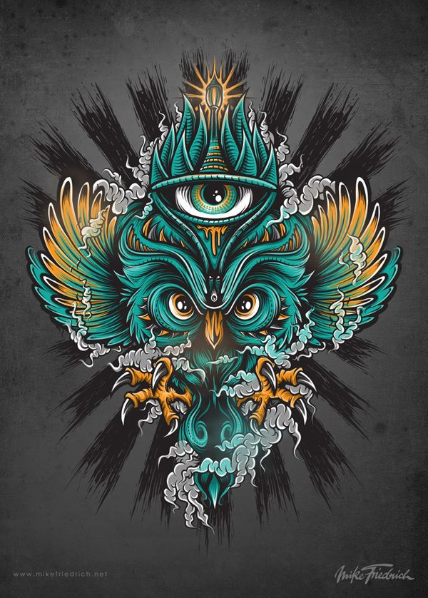 Owl Poster by Mike Friedrich, via Behance #owl #illustration #graphic #design…