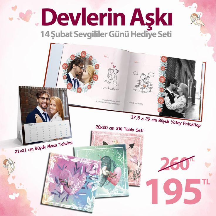 """14 Şubat Sevgililer Günü Hediyeniz bizden.  37,5x29 cm Fotokitap, 21x21cm masa takvimi ve 3lü tablodan oluşan """"Devlerin Aşkı"""" Sevgililer Günü Hediye Seti sadece 195 TL. Sevgiline harika bir sürpriz yap! Fotoğraflarınla aşkını anlat. #14şubat #sevgililer #günü #hediyesi #aşkıma #sevgiliye #hediye #fotokitap #sürpriz #maxlinetr #valentinesday #sevgililergünüfikirleri #sevgililer #günü #fikirleri  #aşk"""