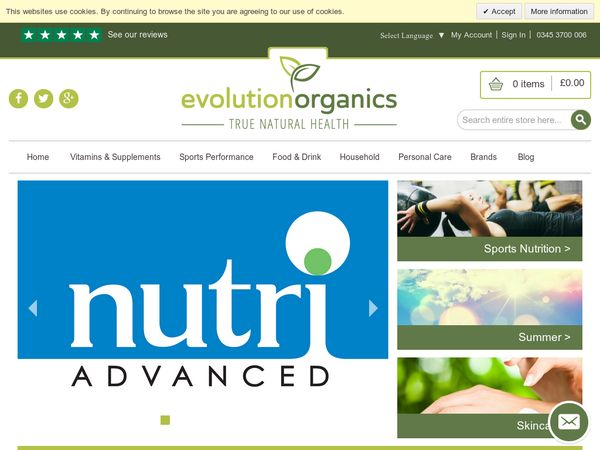 #Evolution Organics - 20% off Nutri Advanced range.