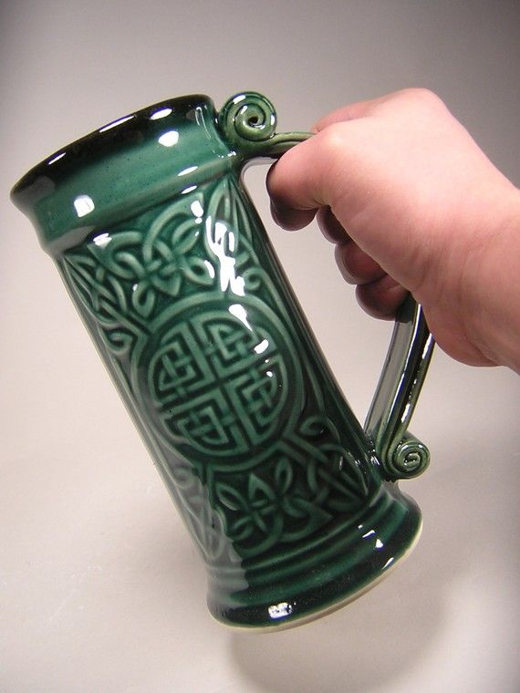 Celtic  Stein  Forest Green Glaze 24oz by CHISCHILLYPOTTERY on etsy lots of cool mugs!