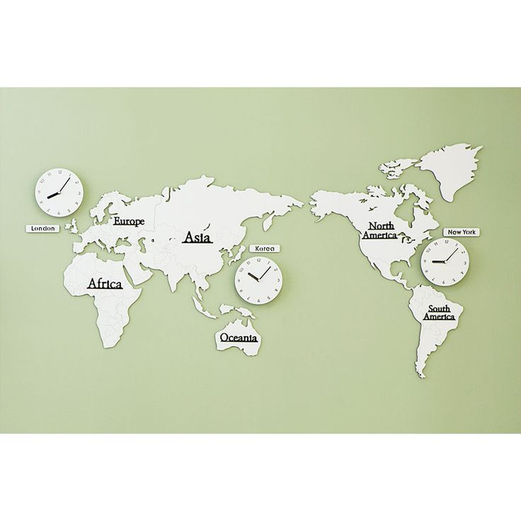 Wood World Time Non Ticking Silent Wall Clock White Gray Decor World Map Silent #moro #WorldMap