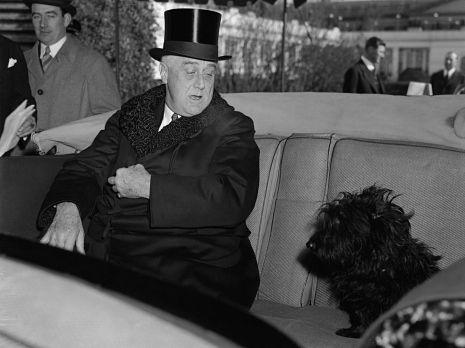 Franklin Roosevelt with his dog Fala: