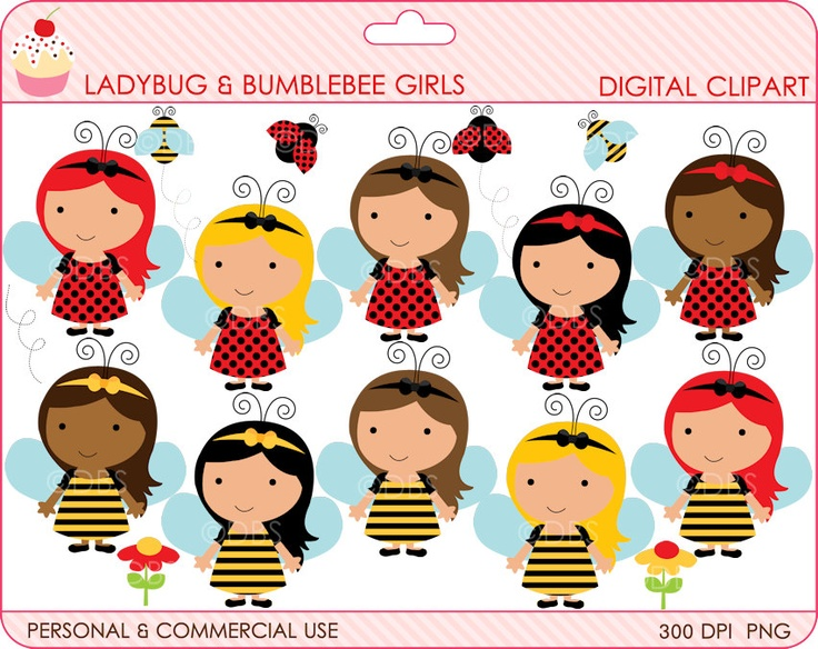 Digital clipart lady bug bumble bee clip art ladybug for Buy digital art online