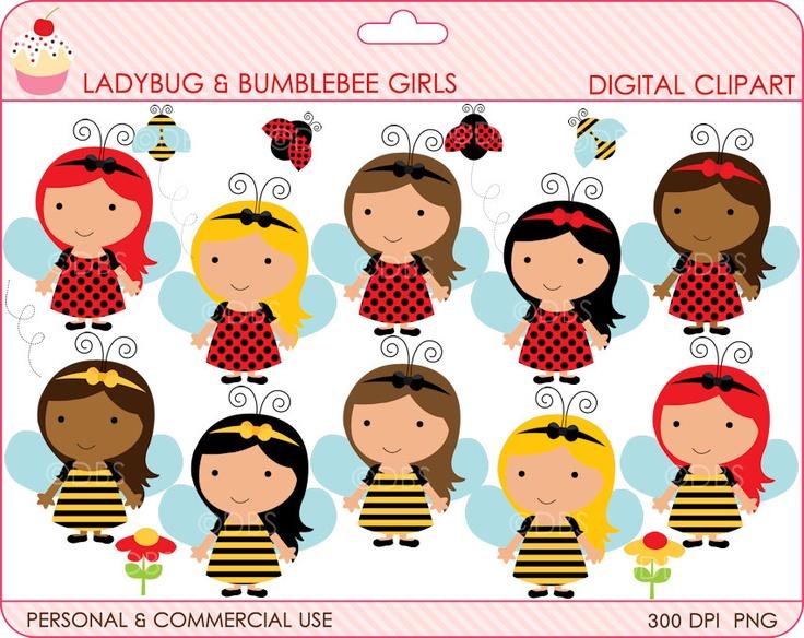 Digital clipart lady bug bumble bee clip art ladybug for Buy digital art online