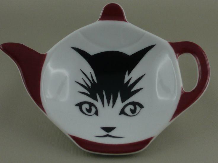 Repose-sachet en porcelaine, petit modèle, motif chat... : Cuisine et service de table par porcelainement-votre