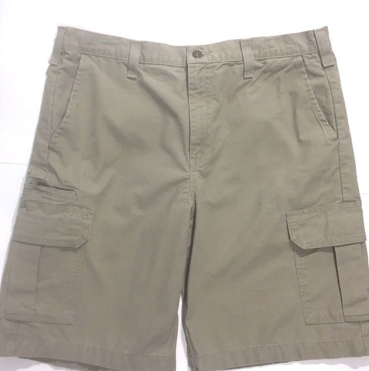 Dickies Mens Khaki Shorts Size 36 Relaxed Cargo Pockets Chinos Flat Front #Dickies #FlatFront