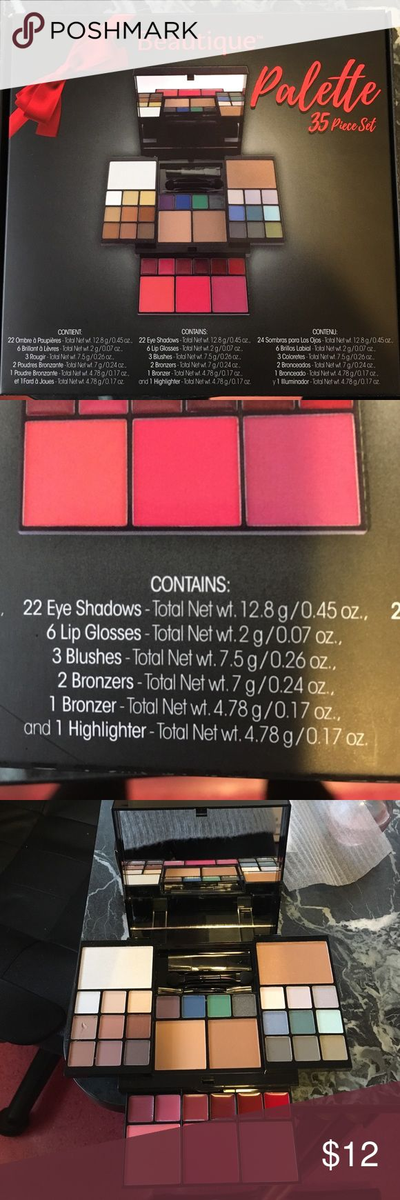 Beautique make up palette Brand new never used beautique 35 piece set make up palette. One of the eye shadows has a small nick out of it but otherwise perfect condition. beautique Makeup Eyeshadow