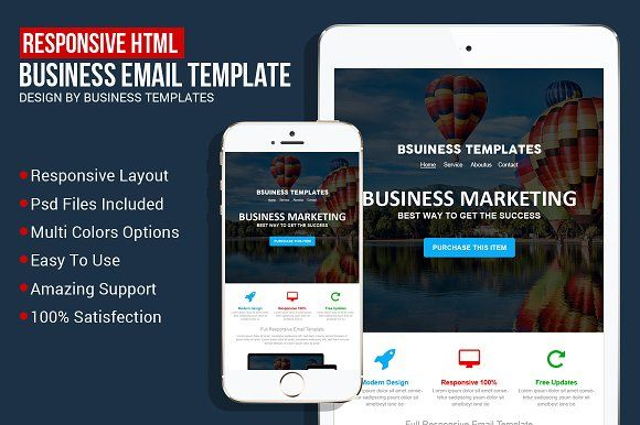 Responsive Business Email Template by Business Templates on @creativemarket
