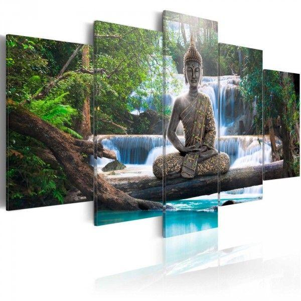 Tableau 5 Panneaux Bouddha Cascade Zen Tableau Decoration Murale Tableau Zen Tableau Decoratif
