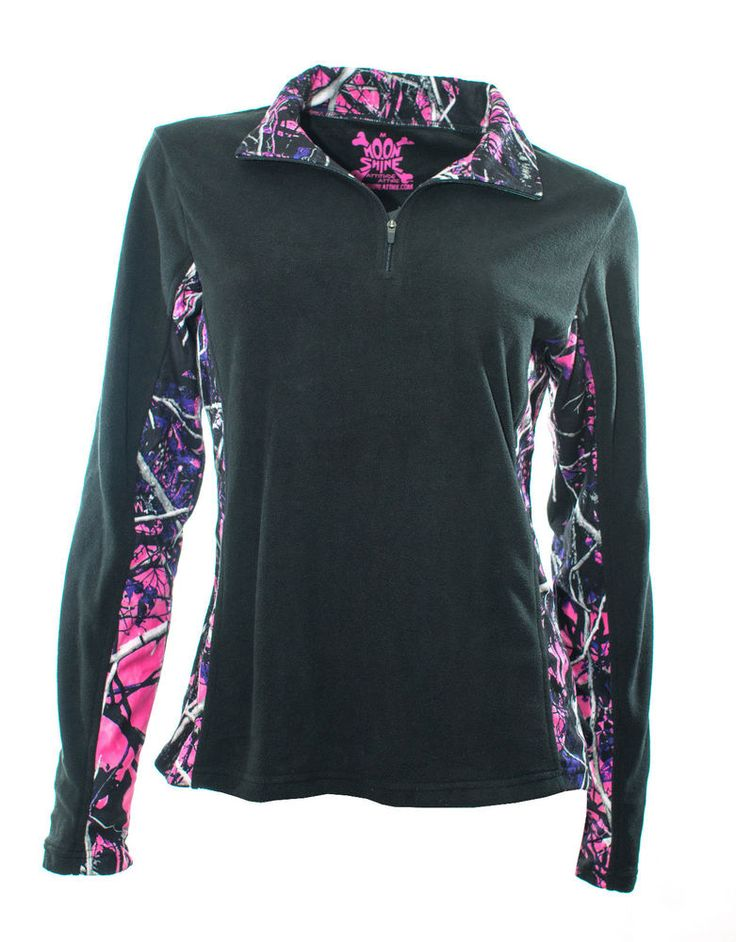 Moon Shine Attitude Attire Muddy Girl  Camo Black Fleece Quarter Zip #FleeceJacket