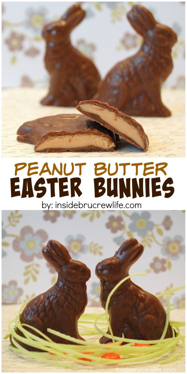 158 best easter chocolates images on pinterest chocolate easter homemade peanut butter filled chocolate bunny candies easter cakes and baking inspiration edible gift idea negle Images
