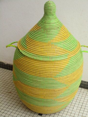 Lime Green and Yellow Basket African Home Decor by africanbaskets