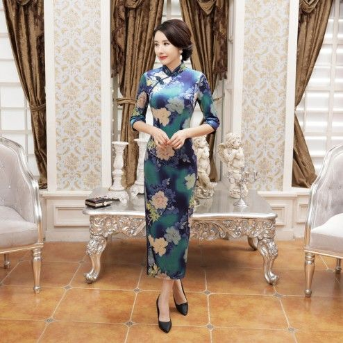 Blue Velour Half Sleeve Tea Length Cheongsam Floral Evening Dress