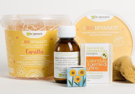 I BIOinvasati Camilla  Delicato trattamento viso per una bioroutine quotidiana all'insegna della dolcezza!  Il biovaso contiene SPUGNA VISO NATURALE, SAPONE CALENDULA e GERME DI GRANO, IDROLATO DI FIORI D'ARANCIO e SEMINI DI FIORI per attirare farfalle e insetti utili a difendere la biodiversità!