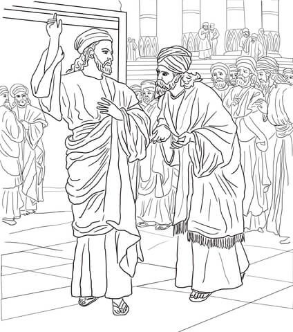 Pharisees and Sadducees Question Jesus coloring page from
