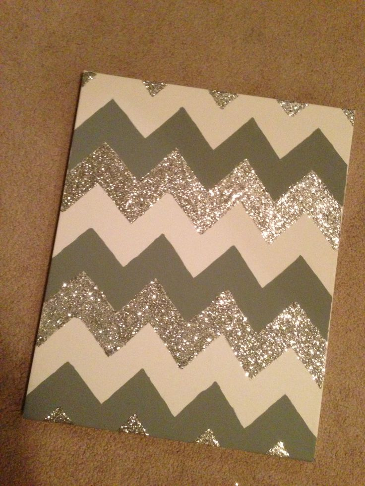 Finally did the glitter chevron on canvas! For my bathroom! :)