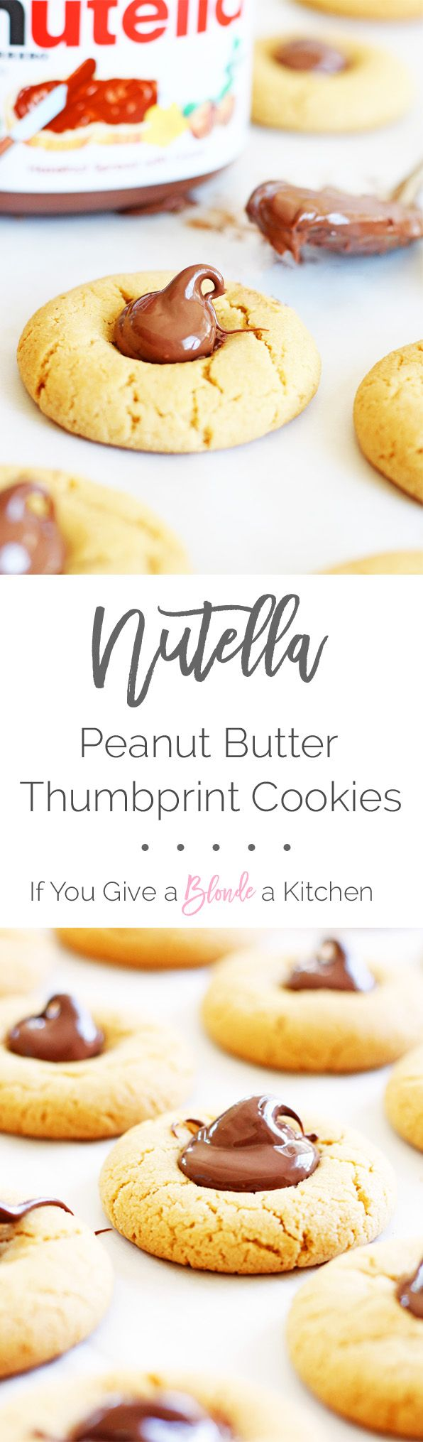 Nutella peanut butter thumbprint cookies are made using an easy peanut butter cookie recipe and topped with a dollop of Nutella.   www.ifyougiveablondeakitchen.com
