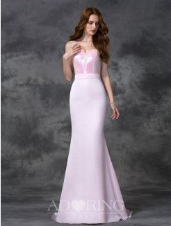 Mermaid Beading Sweetheart Sleeveless Floor-length Satin Chiffon Bridesmaid Dress