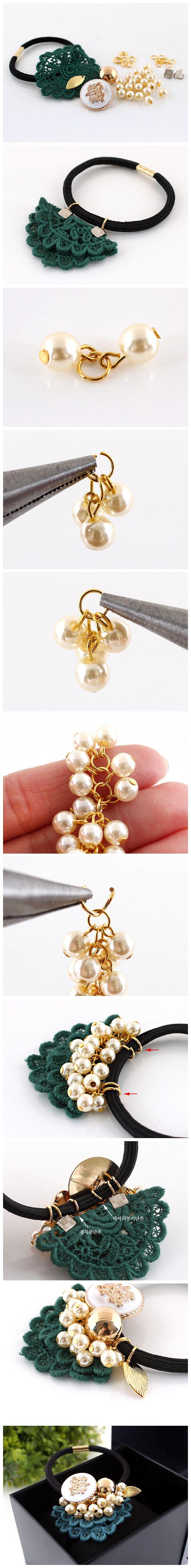 DIY – elastic hair with pearls
