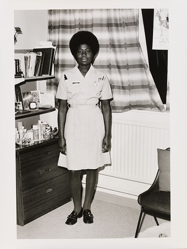 Neil Kenlock, 'Untitled [Nurse Olga Grant photographed in the Nurses' residence at Luton and Dunstable Hospital, Luton, Bedfordshire]' 1972. Museum no. E.216-2012. © Neil Kenlock/ Victoria and Albert Museum, London. Supported by the National Lottery through the Heritage Lottery Fund.
