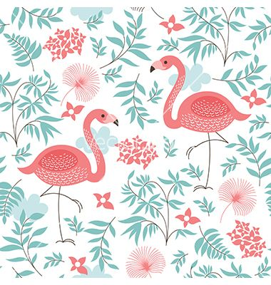 Seamless pattern with a flamingo vector