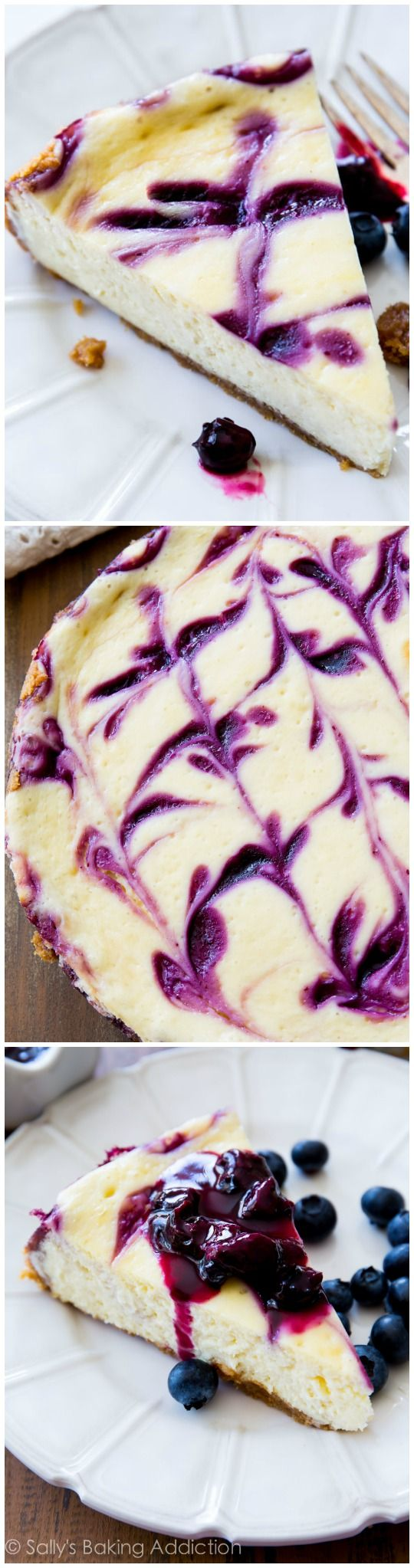 Ultra creamy homemade cheesecake swirled with sweet blueberry sauce. Everyone always begs for seconds!