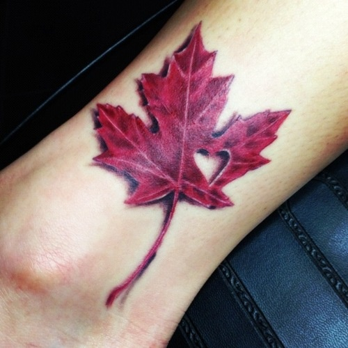 My third tattoo. Done by Blacky at Blackys Tattoo Studio in Ontario, Canada. Proud Canadian! For the love of fall! <3
