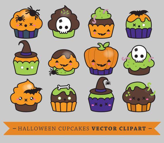 Premium-Vector Clipart  Kawaii Halloween Cup Cakes  süße