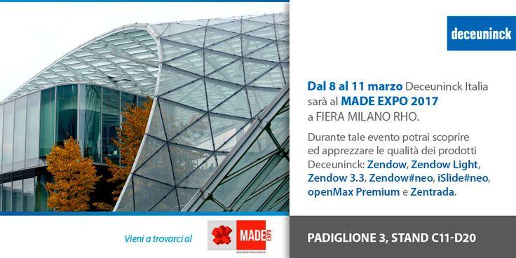 Dall'8 al 11 marzo Deceuninck Italia sarà al MADE EXPO a FIERA MILANO RHO, padiglione 3 - stand C11-D20. Durante tale evento potrai scoprire ed apprezzare le qualità dei prodotti Deceuninck: Zendow, Zendow Light, Zendow 3.3, Zendow#neo, iSlide#neo, openMax Premium e Zentrada.  #Deceuninck #architettura #design #PVC #porte #finestre #scorrevoli #BestInClass
