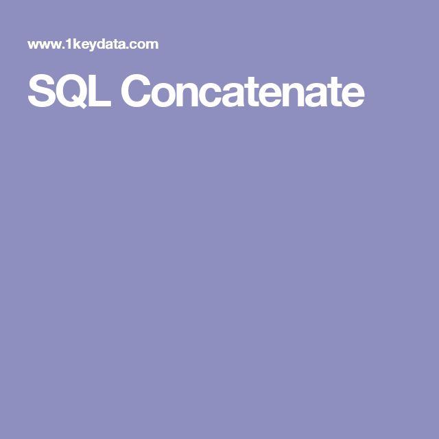 SQL Concatenate