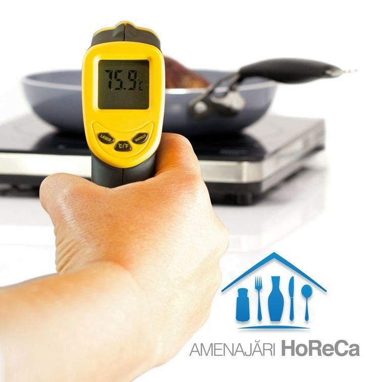 TERMOMETRU CU INFRAROSU, TERMOMETRU LASER   Accesorii profesionale bucatarie, import Olanda.  Functioneaza cu laser; Temperatura de masurare este intre -32°C pana la +300°C;  Indicator laser pentru tinta precisa in vederea masurarii;  Precizie ±1,5 ºC/±1,5%;  Rezolutie 0,1ºC of 0.1 ºF;  Raport distanta masurare 12:1;  Emisivitatea 0.95;  Timp de raspuns 500 ms (8-14) µm;