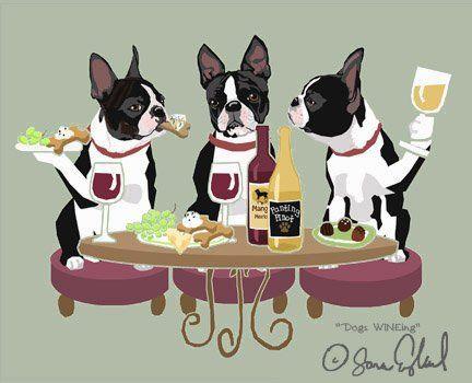 WINEing Boston Terrier - 11x14 Matted Print Sara England