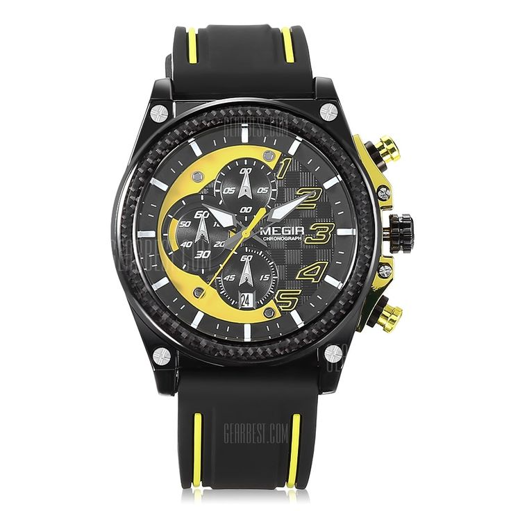 [ $24.90 ] MEGIR MN2051 Male Quartz Watch  -  YELLOW