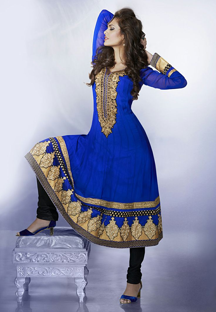 Blue Pure Georgette Anarkali Churidar Kameez