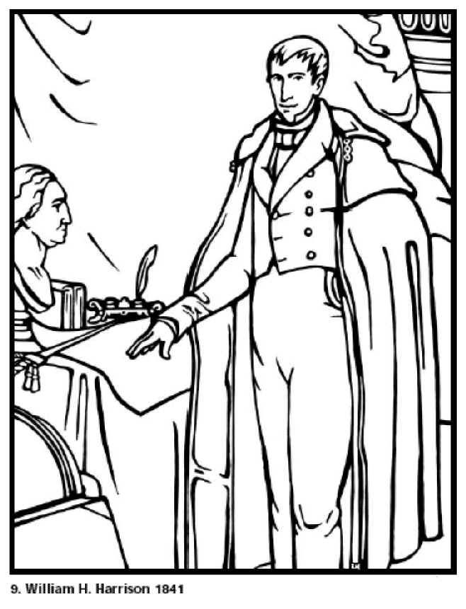 william henry harrison 9th president of the united states free printable coloring sheet click