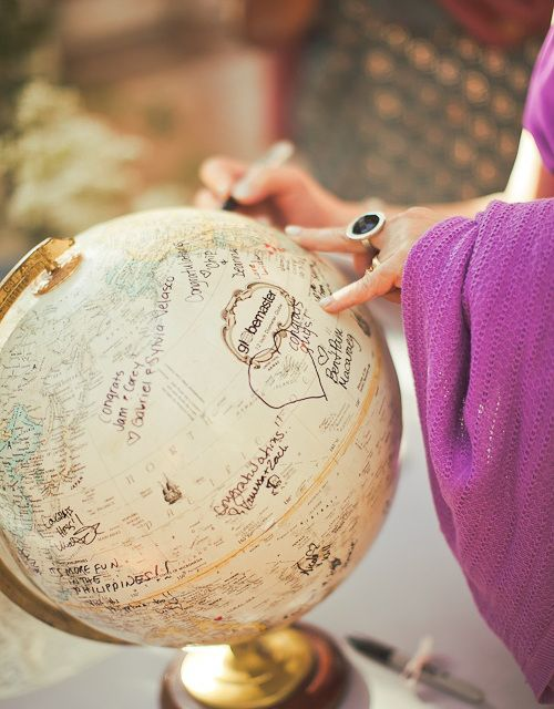 Have your guests sign a globe as your wedding guest book!