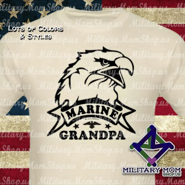 Awesome Marine Grandpa Shirts!! Big Eagle Head shirts with Black artwork in lots of colors and styles. #MarineGrandpa #Marines #MarineShirts - MilitaryMomShop.us