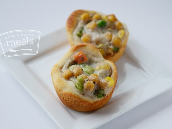 Vegetarian Pot Pie Cupcakes recipe- Once a Month Meals- Lunch