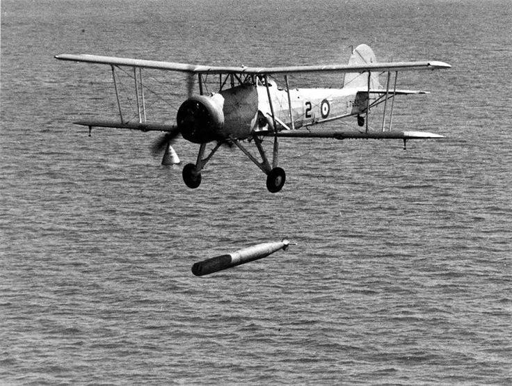 Fairey Swordfish launching torpedo.