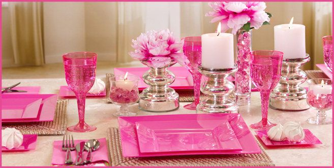 pink baby shower round table decorations | bright pink tableware striking and elegant our bright pink tableware ...