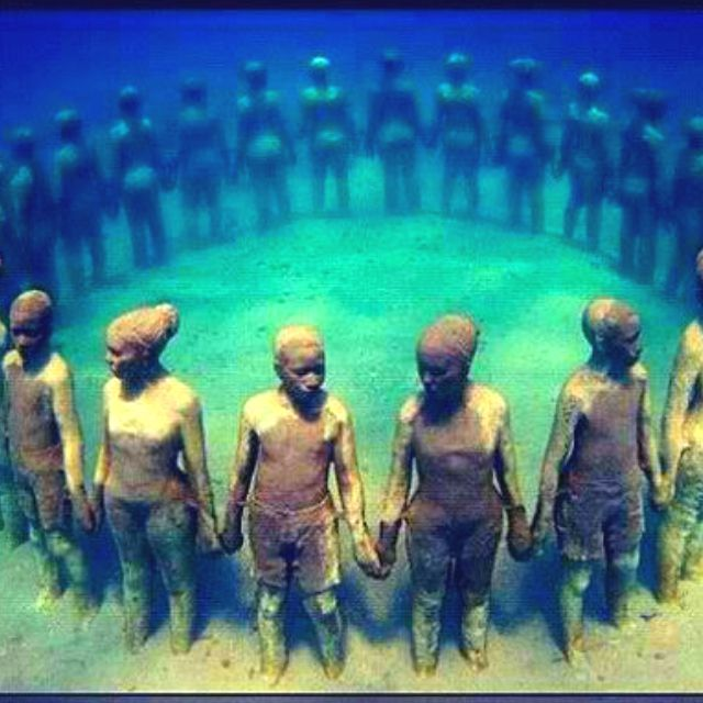 Underwater sculpture, in Grenada, in honor of African Ancestors who were thrown overboard the slave ships during the Middle Passage of the African Haulocaust.