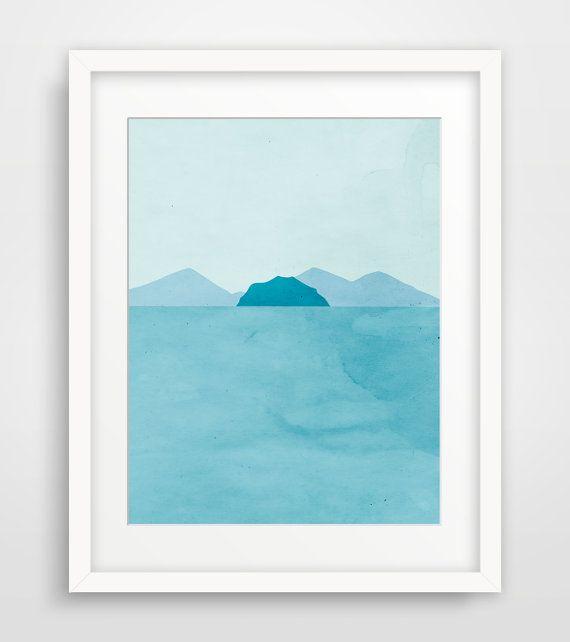 Beach Decor, Coastal Decor, Teal Bathroom Art, Modern Art Print, Abstract Seascape, Ocean Art, Minimalist Poster