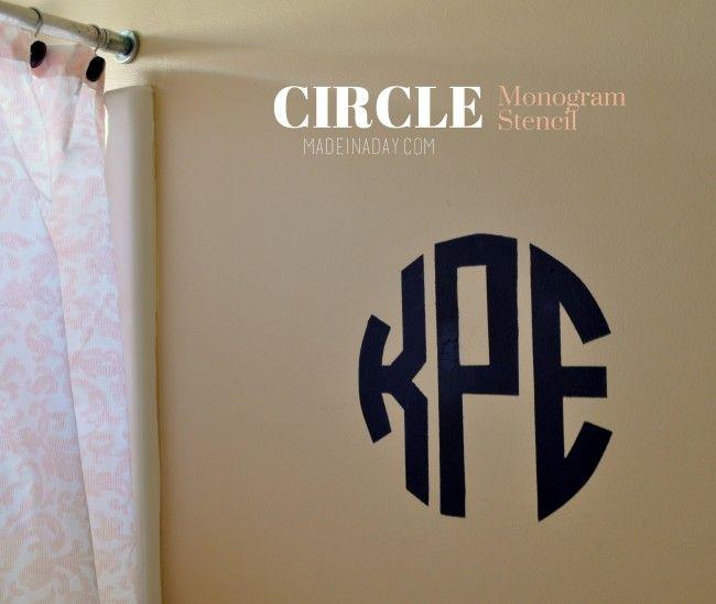 Circle Monogram Stencil, round monogram font, make a stencil using Silhouette Cameo, upload a phone app graphic to make a stencil, navy blue initial stencil