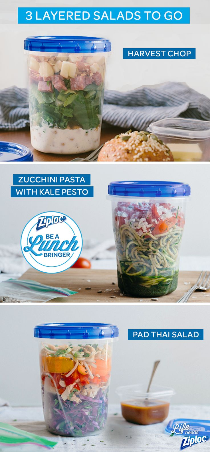 So smart for lunch! 3 easy-to-build, easy-to-carry, salad recipes. The Harvest Salad is sweet and savory with apples and salami, the Zucchini Noodle Pasta has a homemade kale pesto, and the Pad Thai Salad is packed full of colorful veggies. Layer and pack everything inside of a Ziploc® Twist 'N Loc® container so you don't have to worry about spills. Great options or a quick and healthy to-go meal.