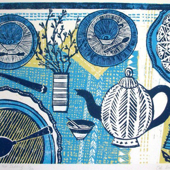Table top setting linocut print. by Zebedeeprint on Etsy, £95.00