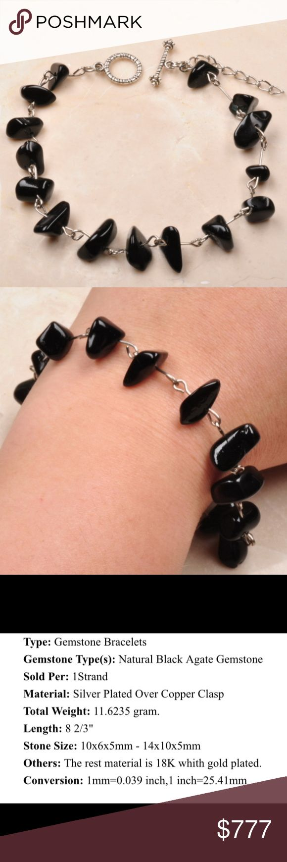 Bundle offer 18k gold plated amp white gold plated necklace 2 ring - Coming Soon Black Agate Gemstone Bracelet Boutique