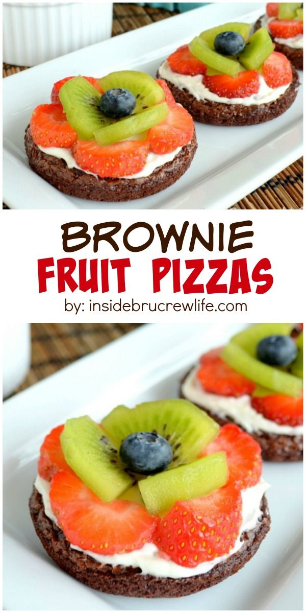 These mini brownies are topped with frosting and fresh fruit to look like flowers.  So cute for parties!