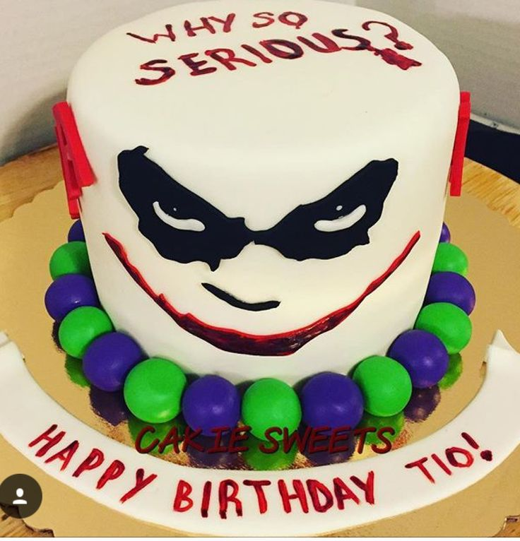 "Joker, ""Why so serious""  birthday cake by Cakie Sweets. Check out our other creations at CakieSweets.weebly.com"